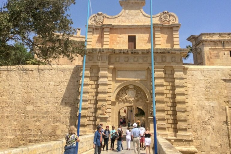 sandstone gate to old town mdina malta sightseeing