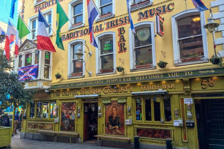 colourful flags on yellow pub exterior things to do in dublin temple bar