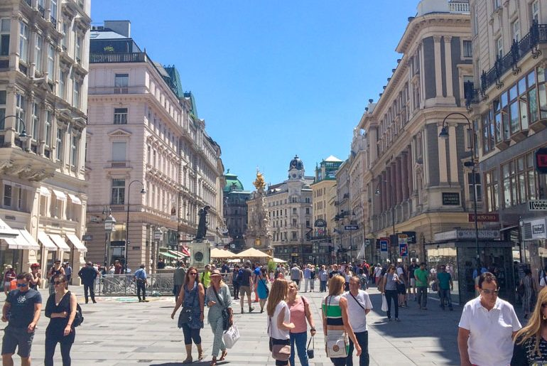 pedestrian mall with people and shops things to do in vienna