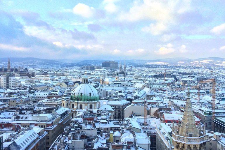 Aussicht auf schneebedeckte Dächer von Wien