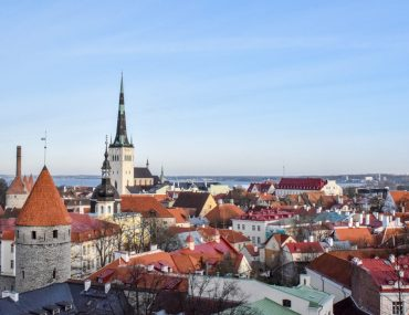 medieval red rooftops in old town tallinn travelling the baltics