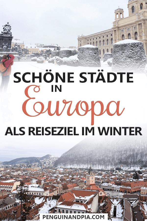 Schöne Städte in Europa im Winter