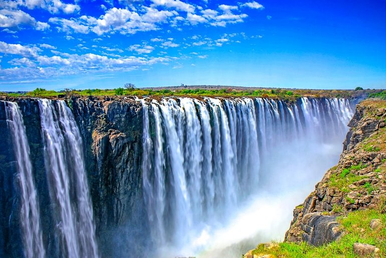 large waterfall into canyon victoria falls africa