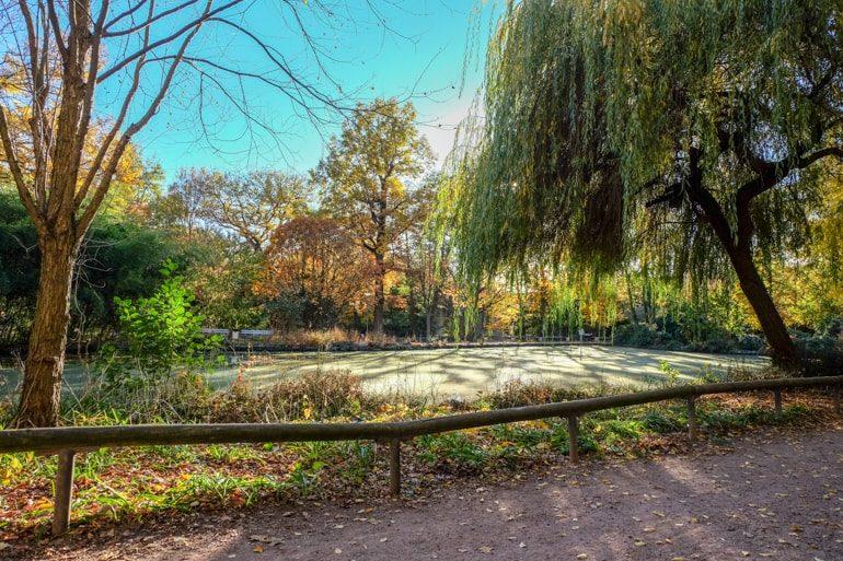 See und Bäume in Park mit Wegen Aschaffenburg