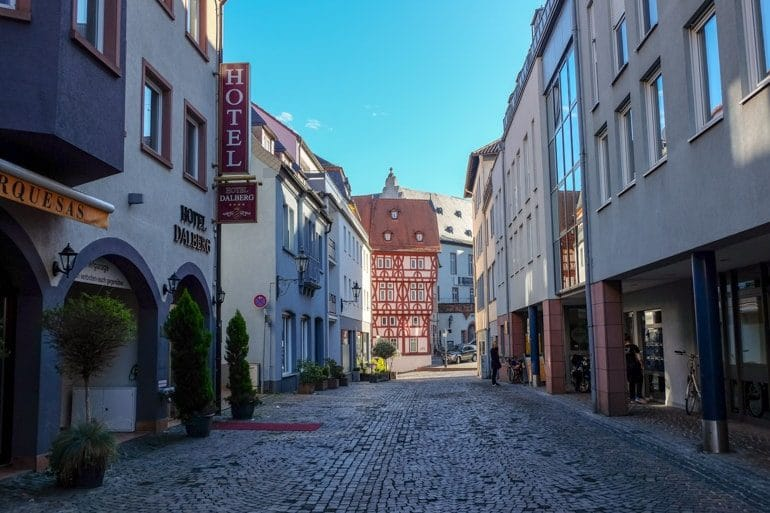 old town street with hotel things to do in aschaffenburg