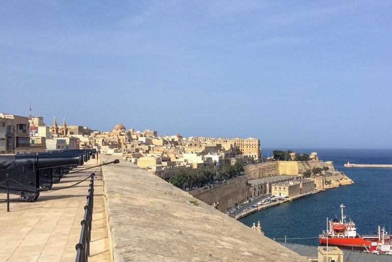 stone saluting batter with city and harbour in distance things to do in valletta