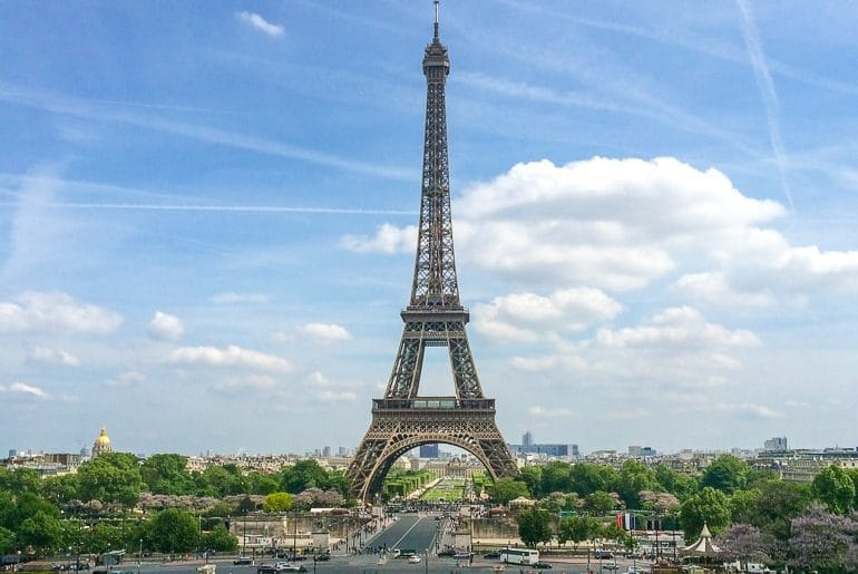 eiffel tower with blue sky european hostels paris france