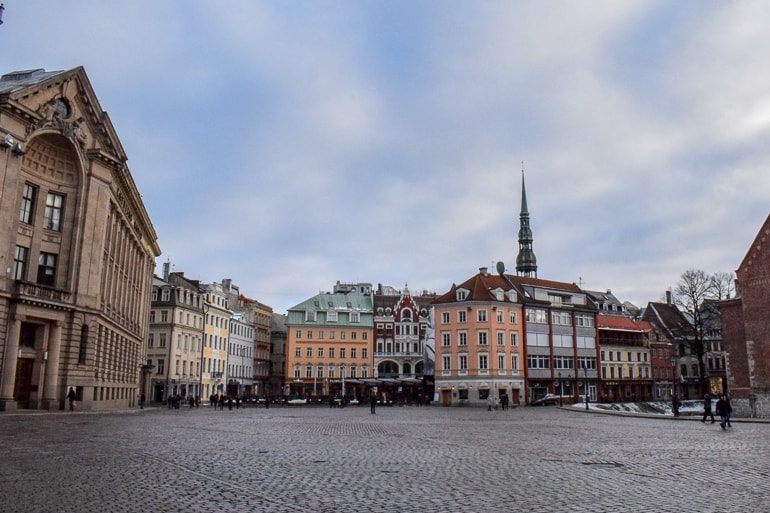 old town buildings with cobble stone roads european hostels riga latvia