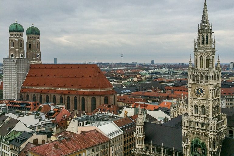 old town hall and church from above munich hostels in germany