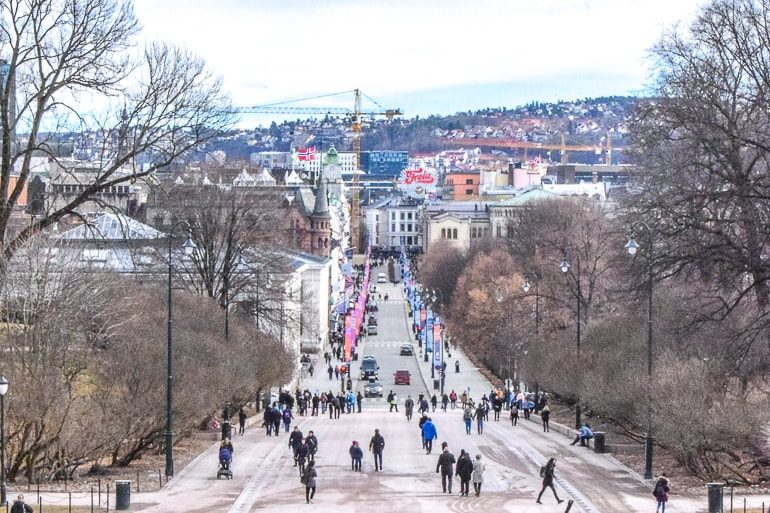 people walking down busy street with trees and shops where to stay in oslo