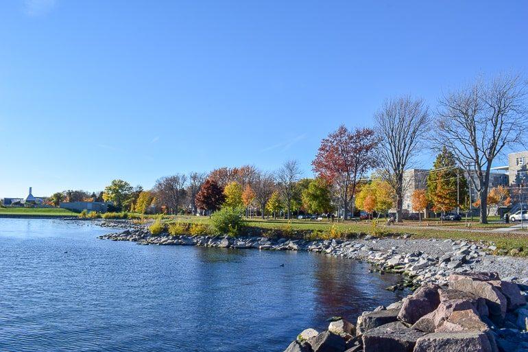 Bäume in Herbstfarben und felsiger Küste See Ontario Kanada