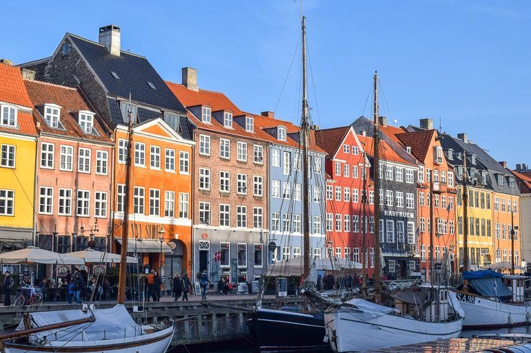 colourful harbour houses with boats one day in copenhagen nyhavn harbour