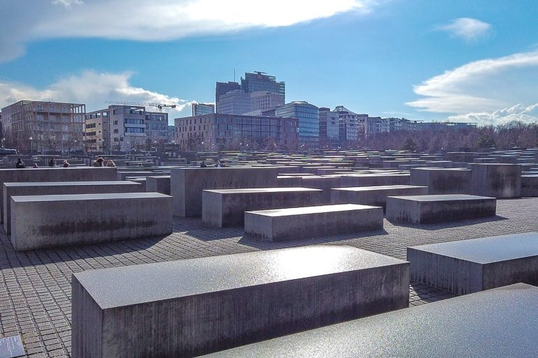 stone rectangles in rows in memorial in berlin attractions