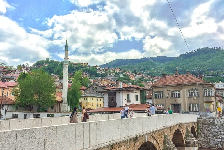 old turkish town with bridge and green hills sarajevo