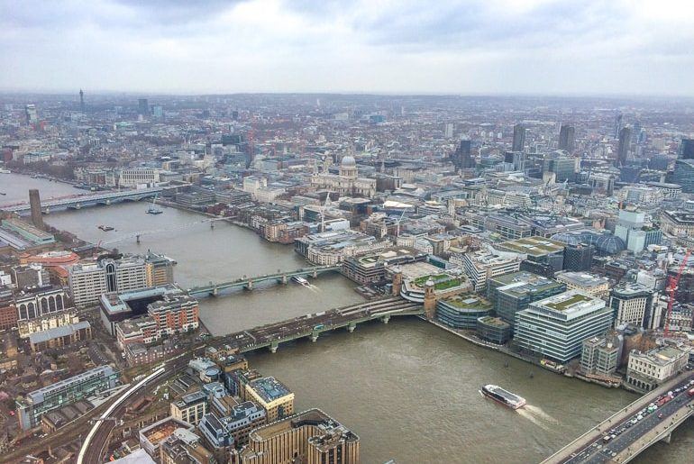 views of river and city below from high up in tower shard london