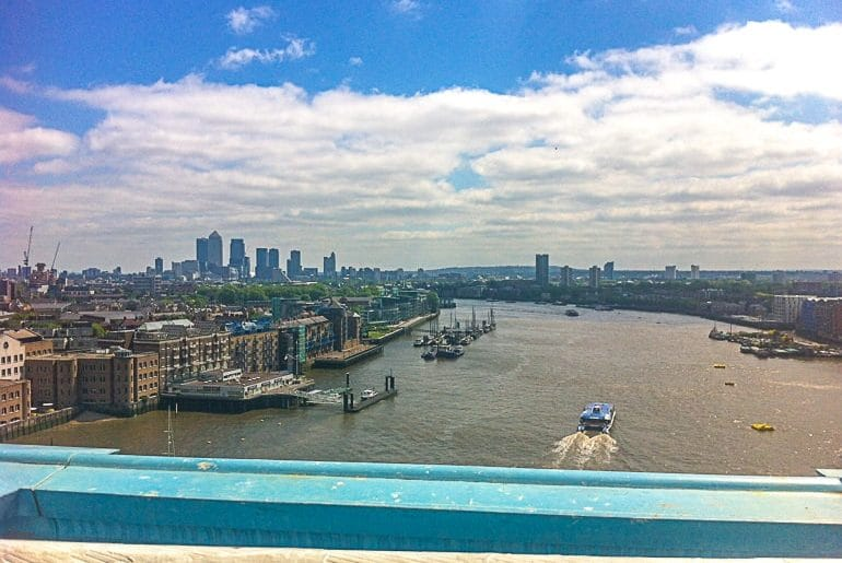view of river and city from high up tower bridge london