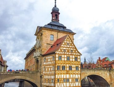 wood framed german building over river bamberg rathaus