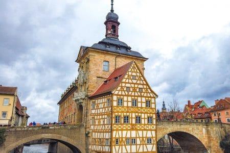 wood framed german building over river bamberg rathaus