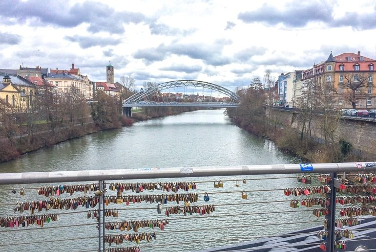 bridge with love locks over river bamberg germany