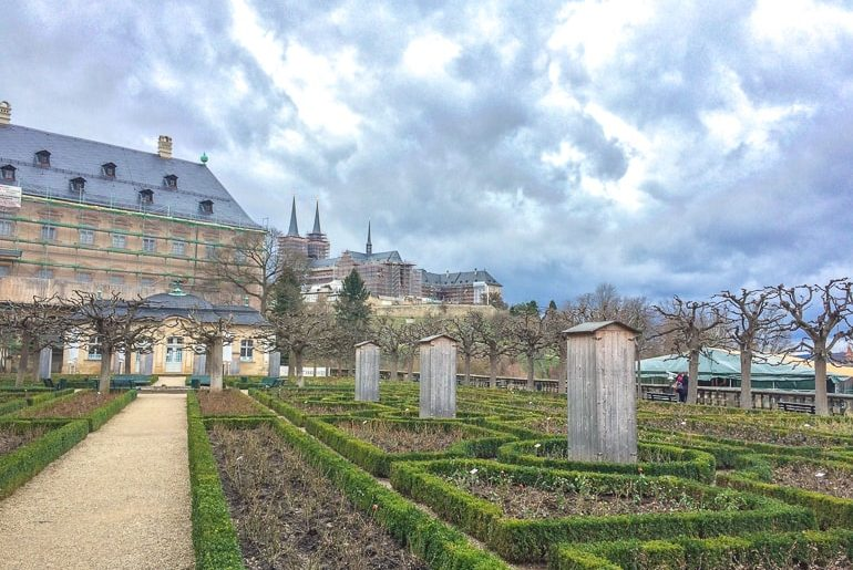 green gardens with large palace behind bamberg germany