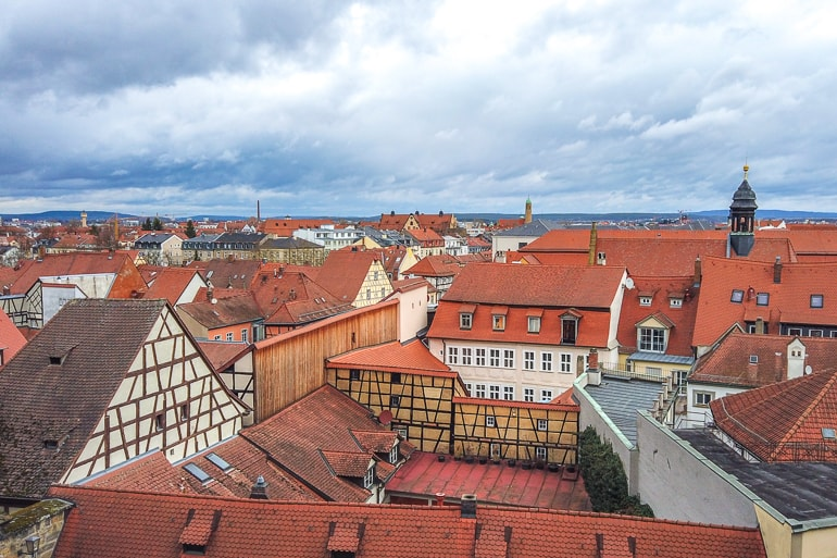 german old town with red clay roofs