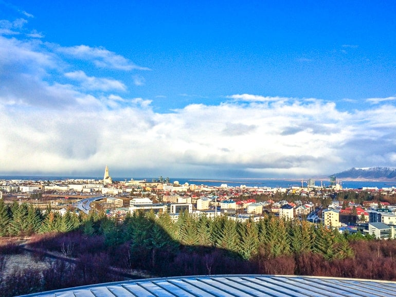 colourful town roofs with blue sky in distance reykjavik hotels accommodations