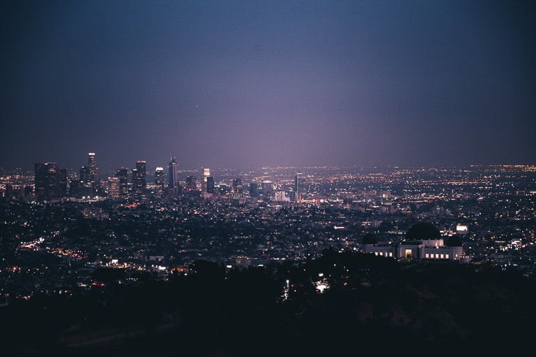 los angeles lit up at night over Griffith observatory