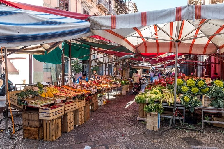 market tents with produce and food in palermo italy
