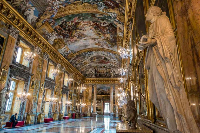 detailed interior of palace in rome italy