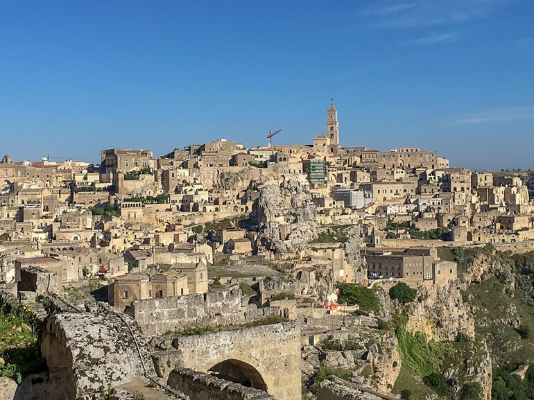 old sandstone town on hillside matera italy