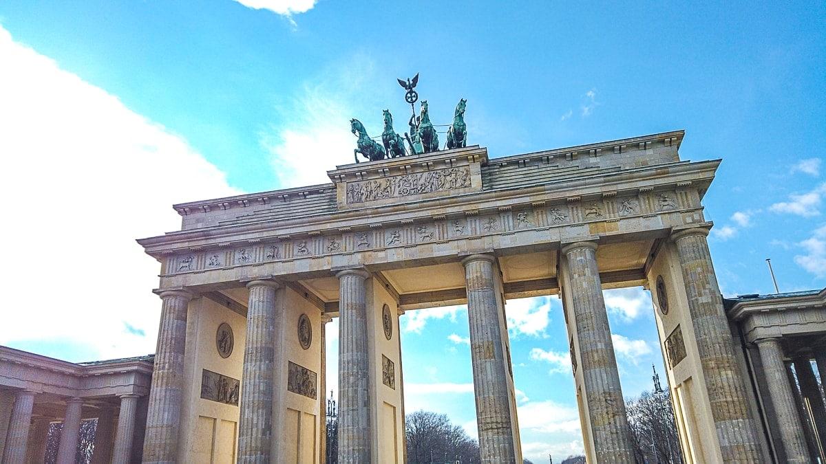 stone brandenburg gate way one day in berlin