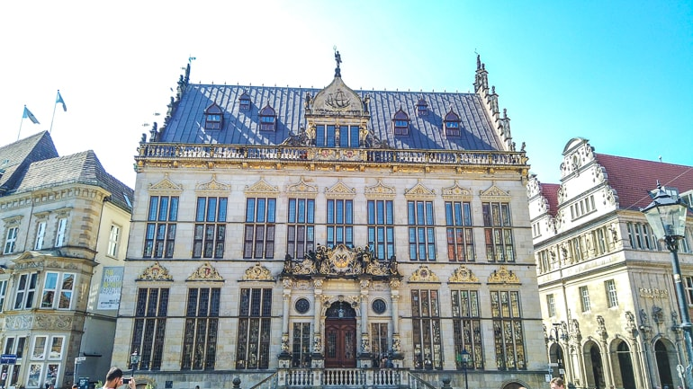 white and gold building on old market square bremen germany