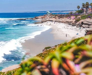 waves crashing on sandy beach with people places to visit in san diego