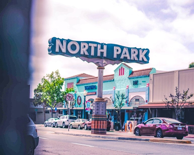 blue sign with north park on it places to visit in san diego