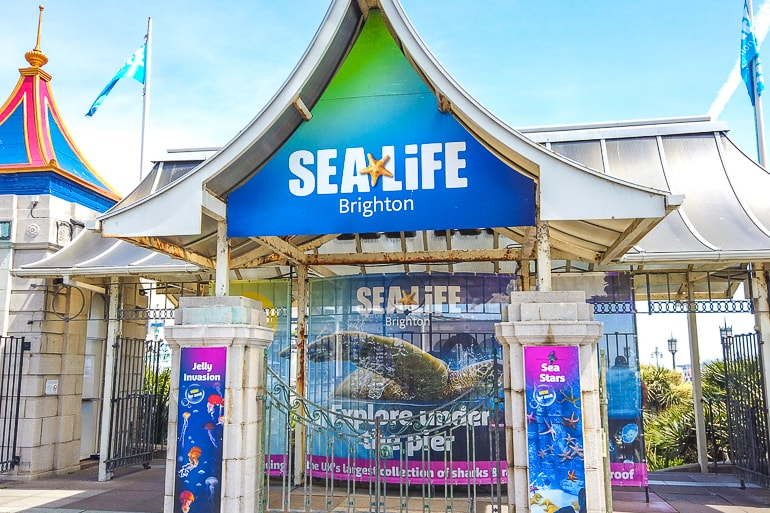 gated entrance to sealife in brighton uk