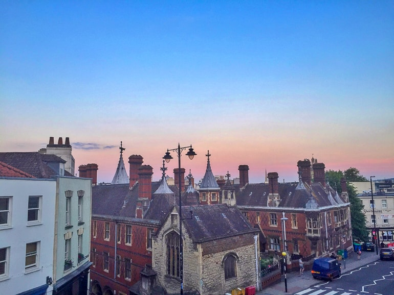 english buildings with sunset overhead in bristol