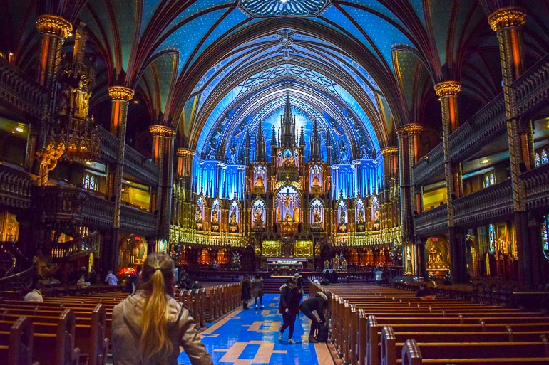 blue decorated cathedral interior things to do in montreal
