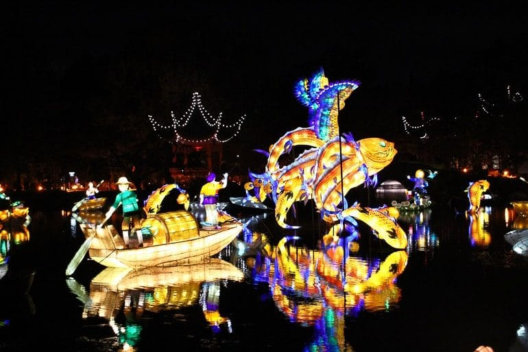 lit up chinese fish at night over water at botanical gardens