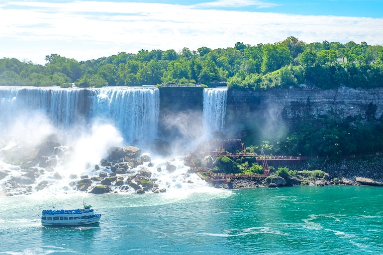 waterfalls with boat sailing past things to do niagara falls canada