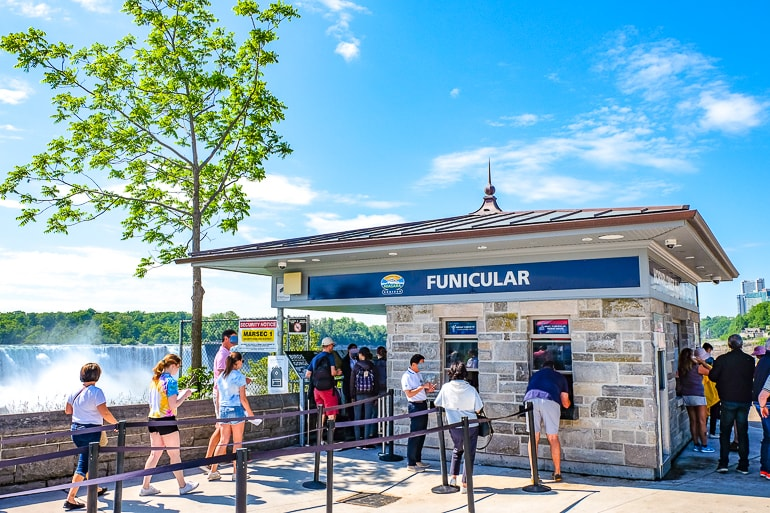 stone ticket booth with blue sky funicular ride niagara falls canada