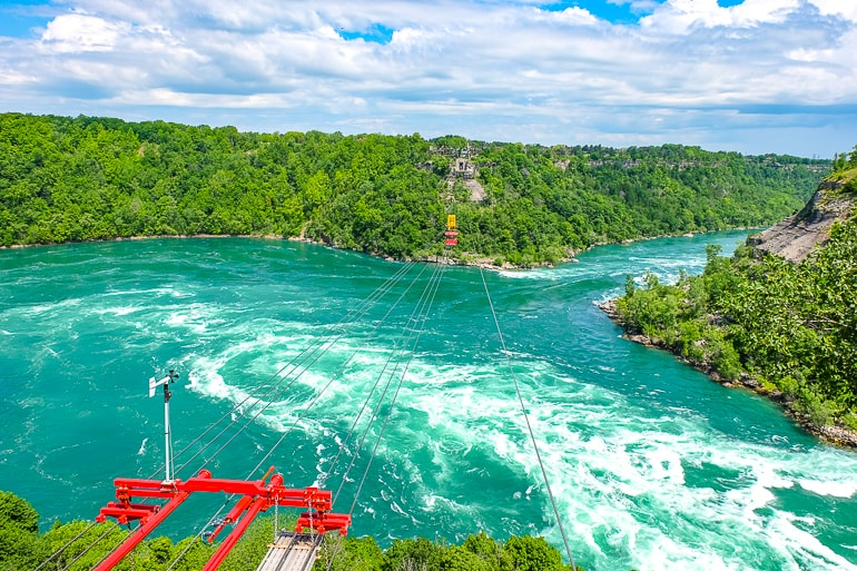blue and white churning water of niagara river whirlpool things to do