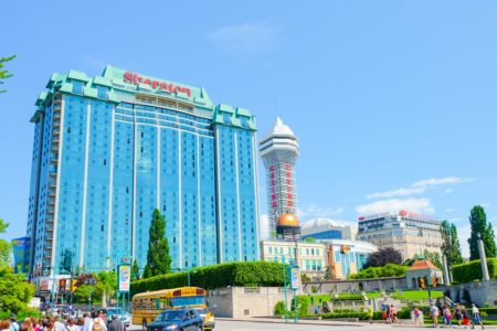blue glass hotel with casino beside in niagara falls where to stay
