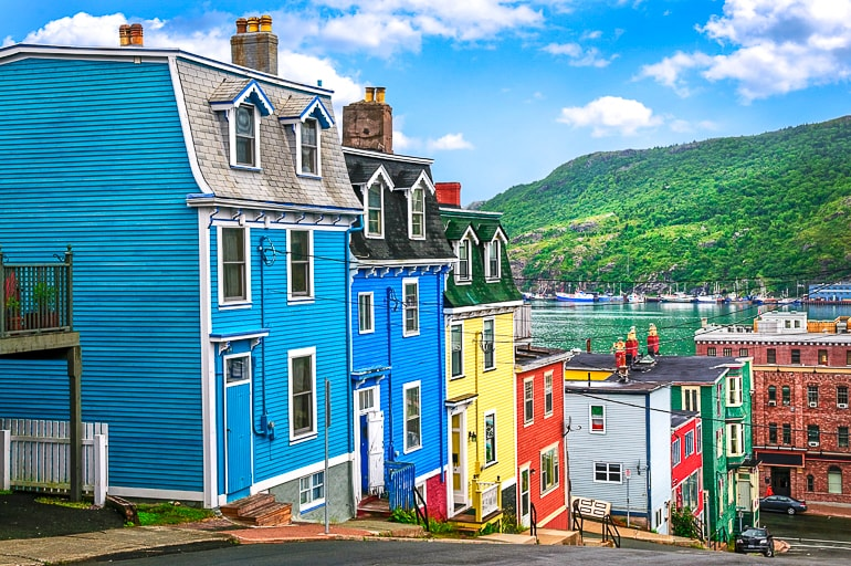 colourful wooden houses on hill canada sightseeing newfoundland