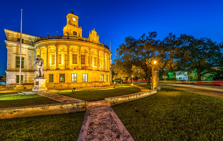 old city hall building at night coral gables miami sightseeing