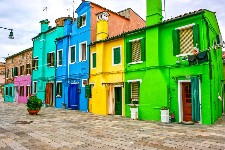 green yellow and blue houses in burano italy