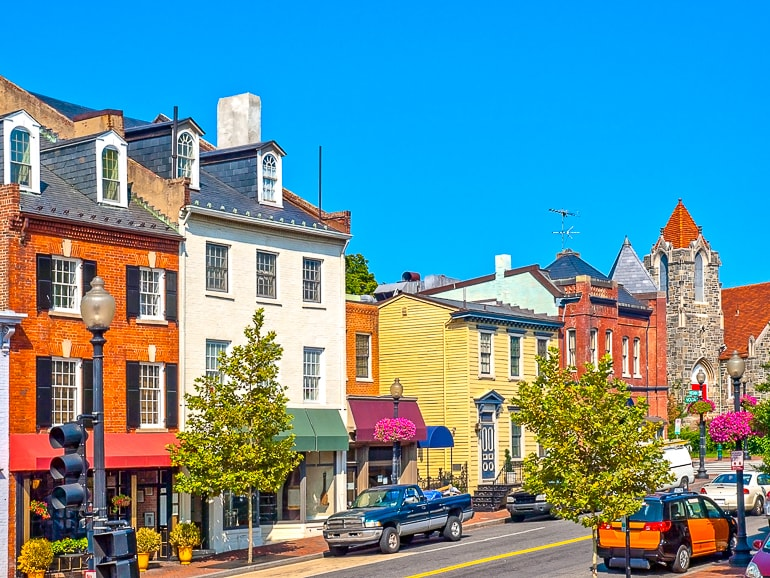 colourful houses and cars in georgetown places to visit in washington dc