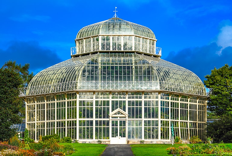 glass and white metal dome greenhouse in gardens dublin