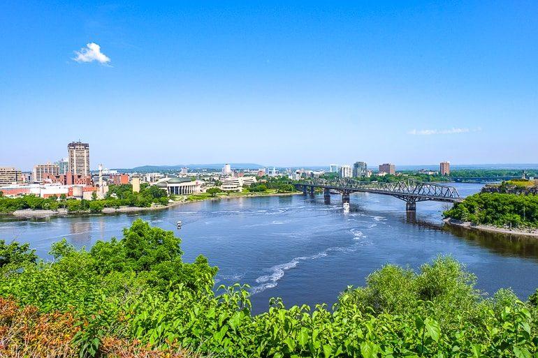 Blauer Fluss mit Museum und Brücke Ottawa Sehenswürdigkeiten
