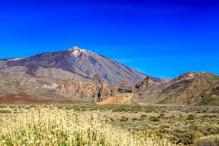 mountain with valley and plants at bottom el teide spain attractions