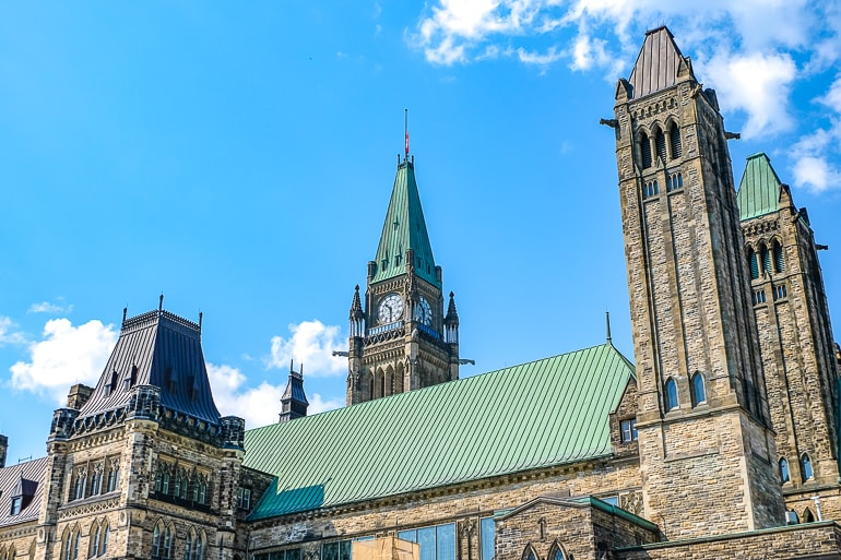 clock tower with other green roof towers parliament hill ottawa